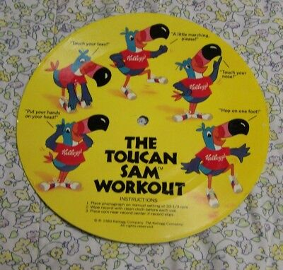 1983 Kellogg's Cereal Toucan Sam Workout Record Flex Disc 6 Inch Cereal Premium