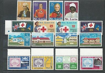 St. Lucia - 1970 to 1974 - Four different commemorative sets - Un-mounted mint