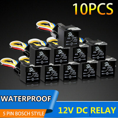 10Pcs DC 12V Car SPDT Automotive Relay 5Pin 5 Wires w/Harness Socket 40|30 AMP