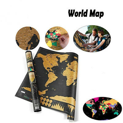 Deluxe Scratch Off World Map Poster Journal Log Giant Map Of The World Gift AU