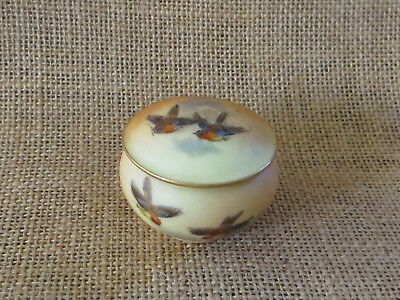 Worcester Royal China Works  Miniature Handpainted Trinket Pot With Lid