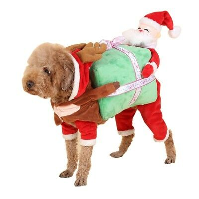 S-XL Cat Pet Dog Puppy Christmas Costume Santa Claus Winter Clothes Coat Outfit