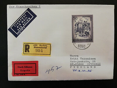 Austria 1975 50S registered express cover to Finland