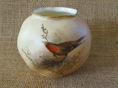 ROYAL WORCESTER BLUSH IVORY VASE WITHHANDPAINTED ROBIN ON GILDED BRANCH c1912