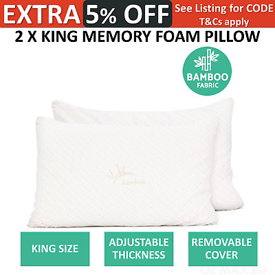 2 X King Bamboo Memory Foam Pillow Gel Infused Twin Pack Adjustable Thickness