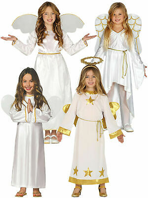 Girls Angel Costume Childs Christmas Fancy Dress Kids Nativity Play Xmas Outfit