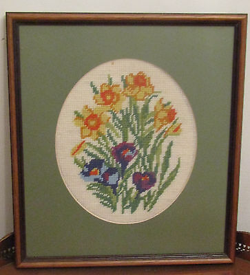 Lovely Vintage completed embroidery woolwork needlework flowers floral Daffodils