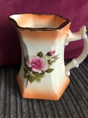 VINTAGE  STAFFORDSHIRE Med Jug - PINK FLORAL WITH GILT TRIM DECORATED WITH ROSES