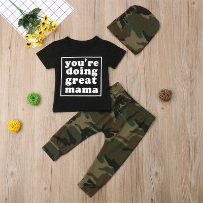 3PCS Toddler Newborn Baby Boy Girl Shirt Tops+Camouflage Pants Outfits Clothes