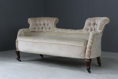Antique Victorian Scrolled End Sofa Sette Chaise
