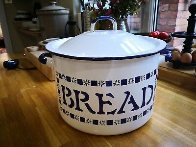 Large white enamel bread bin, made in Poland, excellent cond. No chips.
