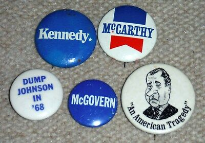 Vintage Lot of 5 Original 1960s 1970s President Pinback Buttons Kennedy McCarthy