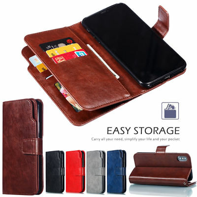 9 Cards Slots Leather Wallet Flip Case Cover For iPhone XS Max XR X 8 7 6s Plus