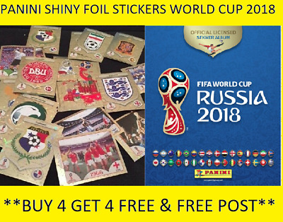 "Panini  Fifa  World Cup Russia 2018 Shiney Foil ,Stickers   ""Buy 4 Get 4 Free """
