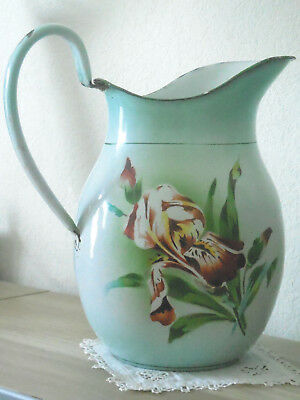 """Rare Antique French ENAMELED PITCHER """"PURPLE IRIS"""" by JAPY FRANCE 1920's"""