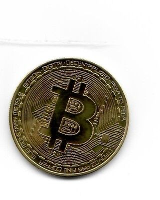 Bitcoin Marked One Troy Ounce Copper Gold Color