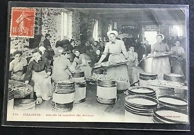 cpa anchois COLLIOURE VOYAGEE 66 pyrenees orientales manufacture sel