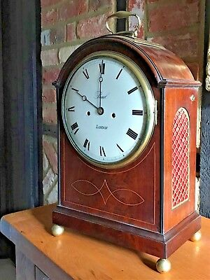 """Antique Pad Top Bracket Clock Double Fusee by """"Paul"""" 'Cleavland' Street London"""