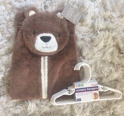 NWT Lot Levtex Brown Bear Plush Nursery Diaper Stacker + 10 White Baby Hangers