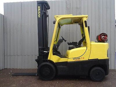 HYSTER S7.0FT. 5400mm LIFT. USED GAS FORKLIFT TRUCK. (#2197)