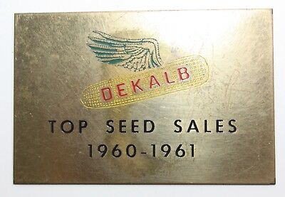 DeKalb Seeds Flying Ear Corn Top Sales Brass Plaque 1960-61