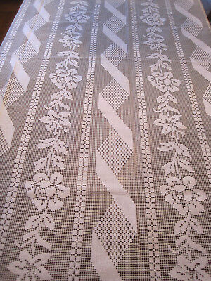 """Vintage Spanish Lace Tablecloth / Twin Coverlet Floral White 96"""" x 72""""   Spain"""