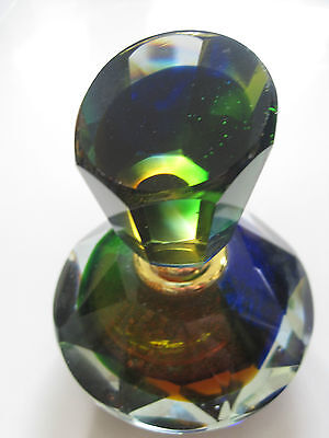 "Perfume Bottle Multi Color Faceted Cut Glass Bottle 4"" T 3.5 "" W Fancy Stunning!"