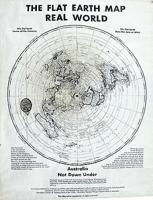 The Flat Earth Society  Map Real World ✅Australia not Down Under✅ A4 ON CARD