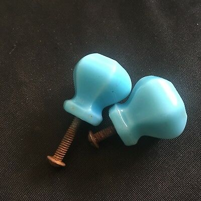 Pair Of Small Antique Light Blue Milk Glass Cabinet Pull KNOBs