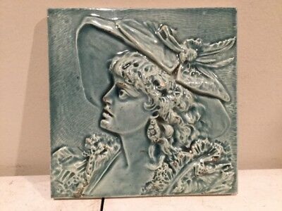 Rare Antique Hamilton Tile Works Ohio Blue Beautiful Women W/ Hat Must See 6 x 6