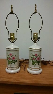 Vintage Pair Hall China Heather Rose Lamps