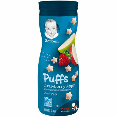 Gerber Graduates Puffs - Strawberry Apple - Baby Cereal Snack 42g (Pack of 6)