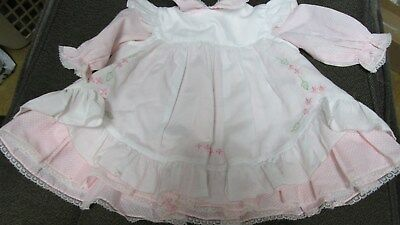 Pink With White Dots & Pinafore  - Baby Girls' Dress - Vintage Nannette - 9 Mon