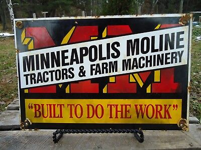 12X8in OLD MINNEAPOLIS MOLINE TRACTORS AND FARM MACHINERY PORCELAIN ENAMEL SIGN