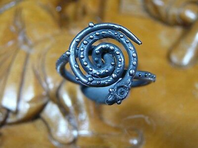 Rare Stunning Ancient Silver Viking Twisted Snake Ring C 8th / 11th.cent AD.