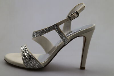 reputable site b2991 20976 SCARPE DONNA ALBANO 37 sandali bianco seta strass DS40