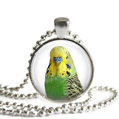 PARAKEET Pendant Necklace Budgerigar EXOTIC BIRD PARROT Glass Handmade Jewelry