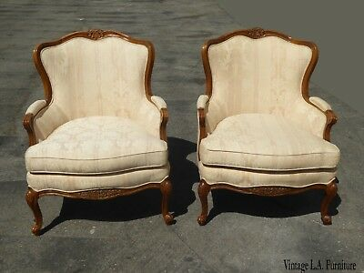 Pair of Bernhardt White French Provincial Bergere Accent Chairs