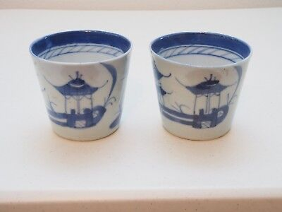 Japanese Antique Sometsuke Small Pair of 2 Sake Cups Blue and White Porcelain 19