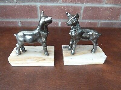 Pair Of French Vintage/ Art Deco  Bronzed Spelter Young Goats On Marble Bookends