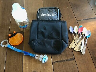 Baby gear kit- bottle cooler, bottle, pacifier clip, teether, and baby spoons