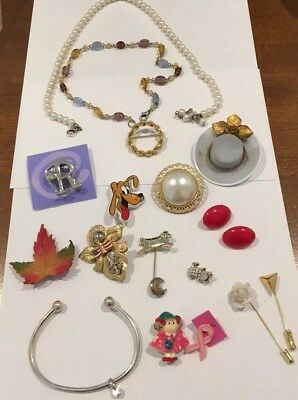 Nice Lot Of Vintage Jewelry-Brooches, Charms, Stick Pins, Faux Pearls, Plastics