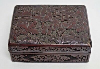Vintage Chinese Cinnabar Red Lacquer Box with Lid