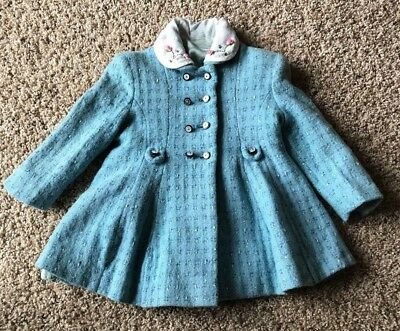 Vintage Retro Blue Wool Lined Baby - Toddler - Doll Coat