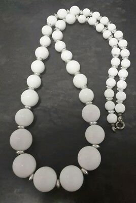 Vintage Retro White And Silver Bead Necklace 24 inches 61cms long