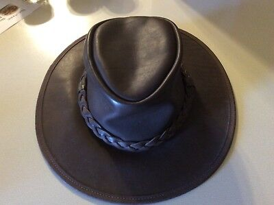 3f1dd6aa Style Minnetonka FOLD UP HAT Safari Outback Brown LEATHER Small Overlander