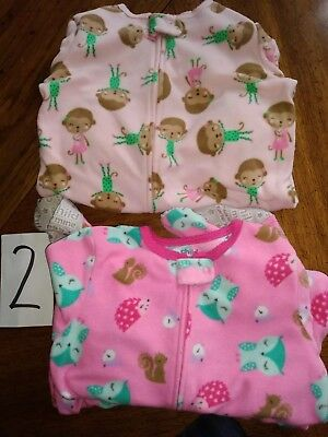 Carters  Child of Mine girls size 5t fleece footed pajamas Lot of 2