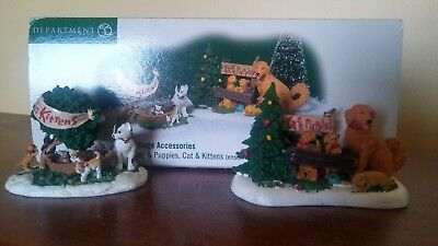 """Department 56  Village Accessories """"Dog And Puppies, Cat And Kittens"""""""