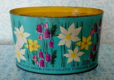 Vintage/Retro 1960s Cadburys Finger Biscuits Tin/Box Flower Power