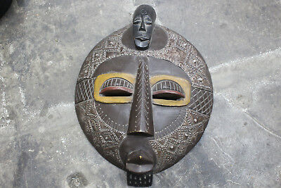 Hand Carved Wooden African Mask Tribal Round